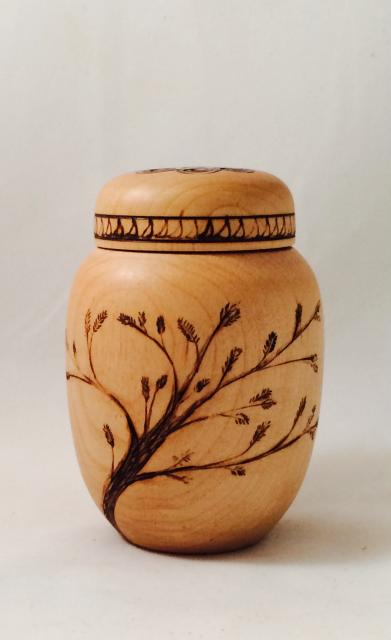 Maple Ginger Jar with Pyrography $125