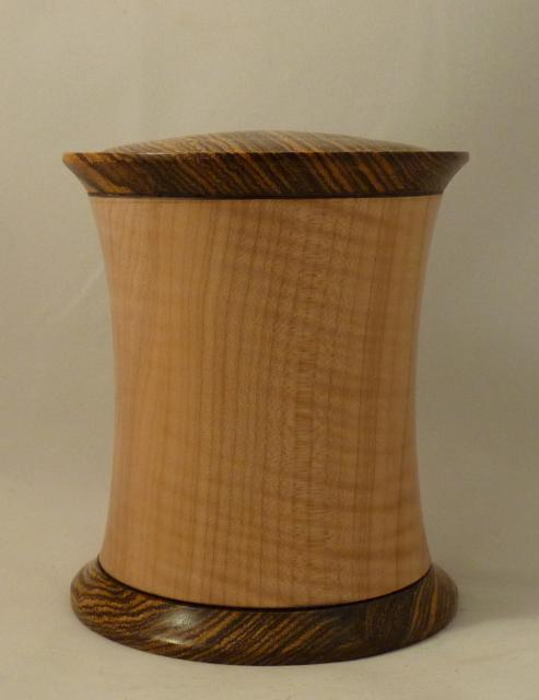 Figured Maple and Bacote  threaded lid and bottom $175